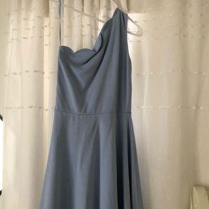blue one shoulder scalloped dress